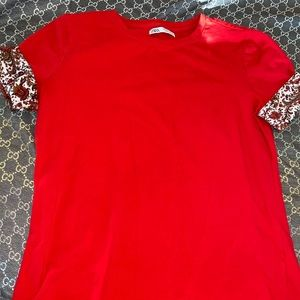 red zara fancy top shirt with detailed sleeves